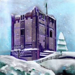 GUILDFORD CASTLE CRYSTALLISED CHRISTMAS CARD