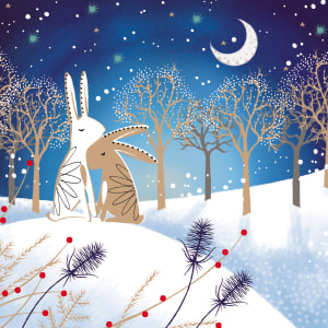 Moonlight Hares Christmas Card